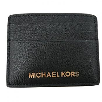 Michael Kors Jet Set Travel Large ID Card Holder Saffiano Leather Black/Gold