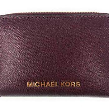 Michael Kors Jet Set Travel Zip Around Back Zip Card Case Crossgrain Leather