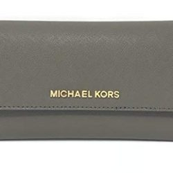 Michael Kors Jet Set Travel Trifold Wallet (Olive Palm Leaf)