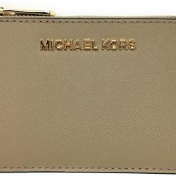 Michael Kors Jet Set Travel Small Top Zip Coin Pouch with ID Holder in Saffiano Leather (Truffle, 1)