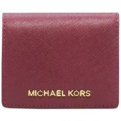 Michael Kors Jet Set Travel Saffiano Leather Card Holder (Merlot)