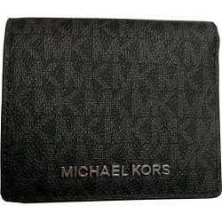 Michael Kors Jet Set Travel Black PVC Signature Card Case Carryall Medium Wallet …